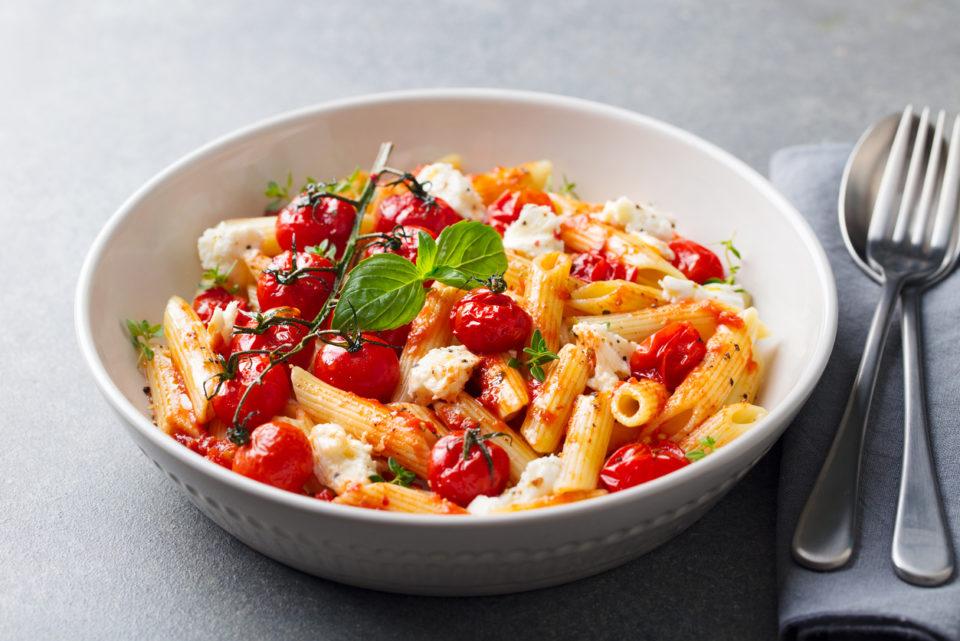 Pasta penne with roasted tomato, sauce, mozzarella cheese.